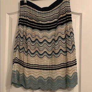 Knee-length Missoni blue glitter print skirt